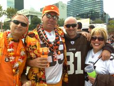 """""""The Hawaii Browns Backers-Honolulu Chapter'"""" don't technically represent the Aloha State, but when you hear the sounds of Jimmy Buffett and the Neville Brothers coming from their tailgate, you know just where they're coming from--somewhere between Key West and New Orleans."""" (Photo: Peter Chakerian)"""
