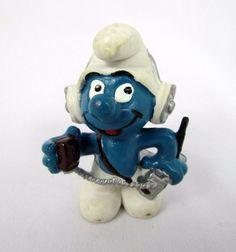 Vtg 1981 Smurfs Peyo CB RADIO Smurf 20143 Schleich Hong Kong PVC Figure Toy #Schleich