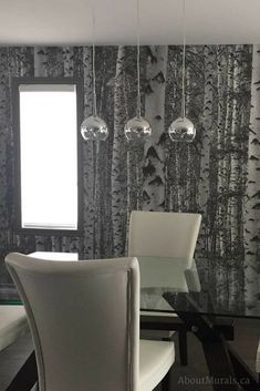 See this birch tree wallpaper on real customer's walls and learn how to get it up quickly and easily from the go-to-mural-girl of celebrity designers. Tree Wallpaper Dining Room, Birch Tree Wallpaper, Birch Tree Mural, Park City, White Patterns, Meditation, Drama, Cabin, Ceiling Lights