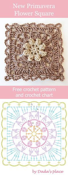 Free crochet pattern: New Primavera Flower granny square with crochet chart by Dada's place #crochetpattern #freecrochetpattern #grannysquare #crochetflower
