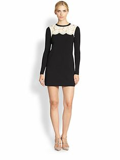 Valentino - Lace Yoke Knit Dress - Saks.com