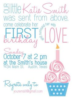 Baby Girl's First Birthday Party Invite by InvitesByLaurie on Etsy, $10.00