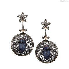 Sapphire Gemstone SPIDER Dangle Earrings 925 Silver Diamond Pave 14k Gold NEW #Handmade #DropDangle