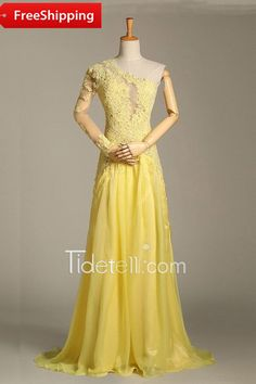 Tidetell Sexy A-line One Shoulder Chiffon Long Prom Dress With Appliques Illusion Back