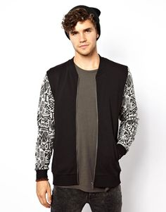 Image 1 of ASOS Bomber With Printed Sleeves