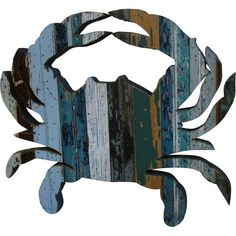 Recycled Crab Wall Art: Beach Decor, Coastal Home Decor, Nautical Decor, Tropical Island Decor & Beach Cottage Furnishings