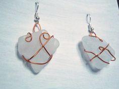 milky white sea glass italian earrings dangle by LaSoffittaDiSte