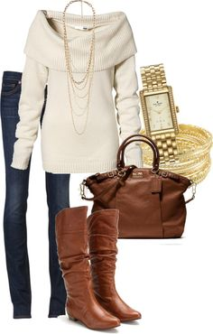 Perfect cram sweater off the shoulders and long. With a pair of skinny jeans and brown boots. Light accessories.