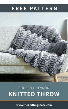 Superb Chevron Knitted Throw [FREE Knitting Pattern]