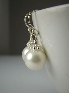 Bridesmaid Large Pearl Earrings, Bridal, Wedding, Sterling Silver, Elegant, Classic. $18.00, via Etsy.