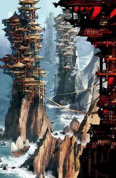 trendy ideas for landscape concept art city environment Fantasy City, Fantasy Kunst, Fantasy Places, Fantasy World, Fantasy Village, Fantasy Forest, Fantasy Castle, Fantasy Books, Dark Fantasy