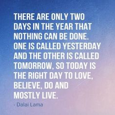 There are only two days in the year that nothing can be done. One is called yesterday and the other is called tomorrow, so today is the right day to love, believe, do and mostly live. -Dalai Lama #Quote