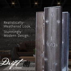 Drift paves the way to the stunning look of reclaimed wood. You get the modern aesthetic of aged wood cladding, without the wait time. Wood Design, Modern Design, Charred Wood, Wood Cladding, Aging Wood, Traditional Looks, Woodworking, Outdoor Decor, Home Decor