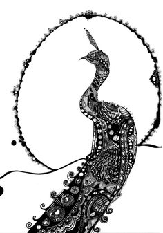 "Saatchi Online Artist: Axel Bernard; Pen and Ink, 2011, Drawing ""The Peacock"""