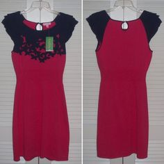 """$198 Lilly Pulitzer Knit Dress Size Large New with tags. Magenta knit dress with navy blue accents. Size L. Ribbed at waist. 17"""" from armpit to armpit. Open to offers. Lilly Pulitzer Dresses"""