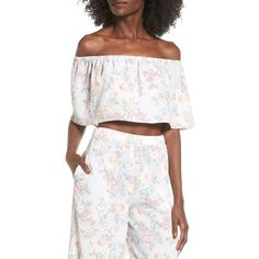 Women's Wayf Off The Shoulder Crop Top ($45) ❤ liked on Polyvore featuring tops, pale blue floral, off the shoulder tops, floral off the shoulder top, crop top, flounce tops and floral tops