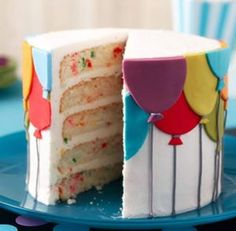 Balloons make every birthday all the more fun! Whether you're celebrating one year or 50 years, this Birthday Balloons Layer Cake is a classic everyone is sure to love. Cupcakes, Cupcake Cakes, Beautiful Cakes, Amazing Cakes, Easy Birthday Desserts, Gateaux Cake, Salty Cake, Cake Decorating Tools, Diy Cake