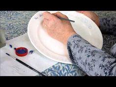 Penwork with overglaze enamels - YouTube