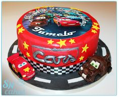 Cars cake with hand made fondant Lightning McQueen and Tow Mater [SNCakes.com]