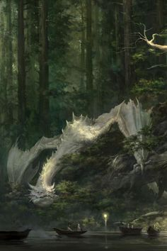 White Dragons | by Xiaodi. Oh man, I hope next Skyrim game has places to go to that contains lush super tall redwoods with rivers snaking between them. This artwork captures a moment I want to play!