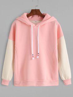Pink Contrast Sleeve Drawstring Hooded Sweatshirt