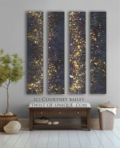 Add LED twinkle lights throughout from behind the canvases. Night sky Abstract painting - Stars 4 panel CUSTOM AcryliCrete Wall Art via Etsy. Diy Wall Art, Diy Art, 3 Panel Wall Art, Purple Home, Resin Art, Painting Inspiration, Art Projects, Art Photography, Art Pieces