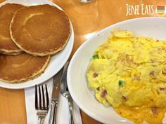 """Pancakes and ham and cheese omelet from The Original Pancake House. From my post """"Six petty chain restaurant hills on which I'd be willing to stand (but not die)."""