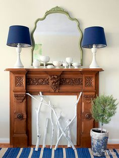 When there's no firebox or chimney and you need a focal point, go faux. Mount a mantelpiece on a wall to create the illusion of a fireplace. Fill the firebox opening with birch limbs, a plant-filled urn, or a basket of pinecones. Add a mirror, some pretty lamps, and an exhibit of your favorite collections. Voila! Instant focal point. /