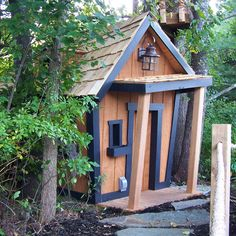 Crooked extreme house in the woods
