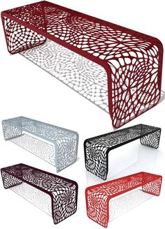 "Laser cut bench from Arktura. Love love love. I can't find a place for it since it's 49"" long."
