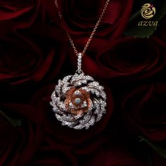 rose gold pendant with diamond encrusted petals Womens Jewelry Rings, Luxury Jewelry, Bridal Jewelry, Rose Gold Pendant, Diamond Pendant, Diamond Necklaces, Diamond Jewellery, Pendant Design, Pendant Set