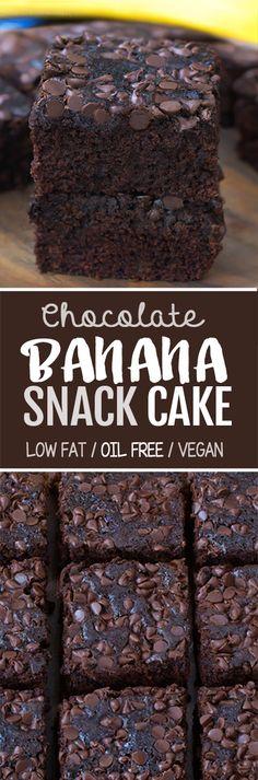 Chocolate Banana Snack Cake (Oil Free, Low Fat, Vegan) - Sweets & More - Banana Recipes Vegan Sweets, Healthy Sweets, Healthy Baking, Banana Recipes, Cake Recipes, Dessert Recipes, Picnic Recipes, Baking Desserts, Cake Baking