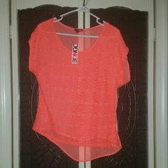 BNWT Neon orange hi/low top Orange hi/low top with lace detail overlay and sheer back, never been worn. BONGO Tops Tees - Short Sleeve