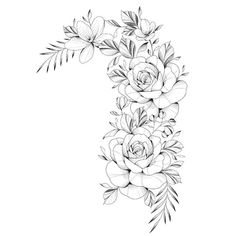 Rafael Costabile no 3d Tattoos, Rose Tattoos, Body Art Tattoos, Sleeve Tattoos, Tattoo Drawings, Tatoos, Floral Thigh Tattoos, Small Flower Tattoos, Floral Tattoo Design