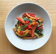 Mixed Pepper and Pak Choi Stir Fry with Peanut Sauce