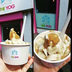Great shot by @cmblakeston ! Who could eat one of these right now?! We sure could! #frozenyoghurt #theyogbar #froyo #sundayfunday #banana #peanutbutter #frozenyoghurt #instafood  by theyogbar