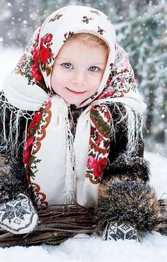 A Russian girl in the traditional shawl. #cute #kids #Russian #costume