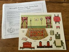McLoughlin Brothers Paper Dining Room - Elspeth 1978 | eBay Barbie Paper Dolls, Vintage Paper Dolls, Paper Doll House, Hobby House, Sleeping Beauty Castle, Little Bo Peep, Children's Picture Books, Book Activities, Brother