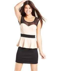 Trixxi Juniors Dress, Cap-Sleeve Peplum Body-Con - Juniors Dresses - Macy's