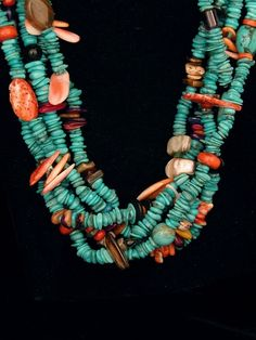Five Strand Turquoise and Multi Stone Necklace  Carol Hatathlie  Navajo  26 1/2'' length  $650