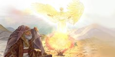 An angel appears to Moses at a burning bush