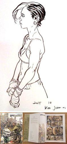Reference Manga, Drawing Reference Poses, Drawing Poses, Ink Pen Drawings, Art Drawings Sketches, Character Sketches, Character Design, Human Face Sketch, Junggi Kim