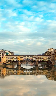 Ponte Vecchio, Florence, Italy . Did you know the windows in the top middle were added in just for Hitler's tour of the city? The hallway where they are located was filled with art, which is the reason this bridge is still standing today. During the war all of the bridges were destroyed (order by Hilter) but he asked that this one be spared due to the art inside.