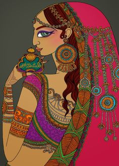 Another lovely illustration by Mariya Paskovsky, this one is based on the Oriental fragrance family