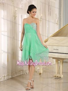 Lovely Apple Green Sweetheart Knee-length Holiday Dress For Teenagers