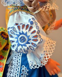 Doll clothed in handmade slovak national costume decorated with perforated embroidery typical for Piešťany region Czech Republic, Drawstring Backpack, Folk Art, Costumes, Embroidery, Dolls, Chairs, Handmade, Bohemian