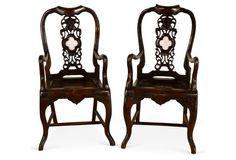19th-C.  Asian  Armchairs,  Pair