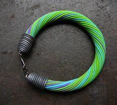 Fun spring polymer clay bangle bracelet. $15.00, via Etsy.
