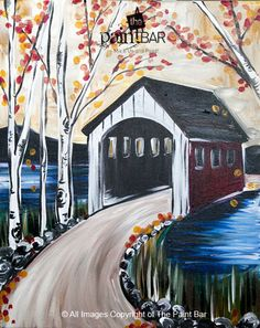 Fall Covered Bridge Painting - Jackie Schon, The Paint Bar
