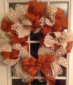 Hey, I found this really awesome Etsy listing at http://www.etsy.com/listing/154128640/burnt-orange-and-natural-burlap-wreath